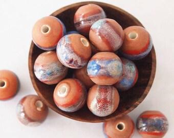 8 Ceramic Porcelain Glazed Round Beads Terracotta Blue size 12mm