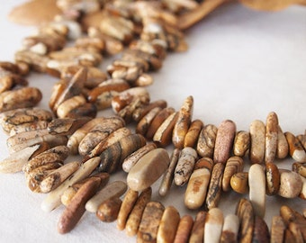 Strand Picture Jasper Gemstone Stick Beads Natural Ochre Sizes 8 - 23mm Approximately 95 -100 Beads