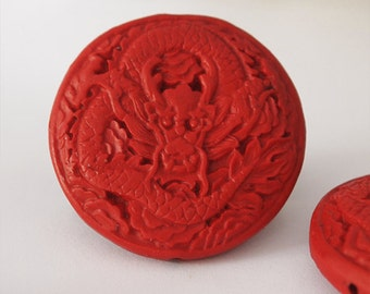 1 Red Cinnabar Dragon Pendant Carved Large Size 50mm