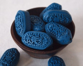 4 Cinnabar Beads Flat Long Hexagon Shape Carved Matte Finish Blue Size 23 x 13mm