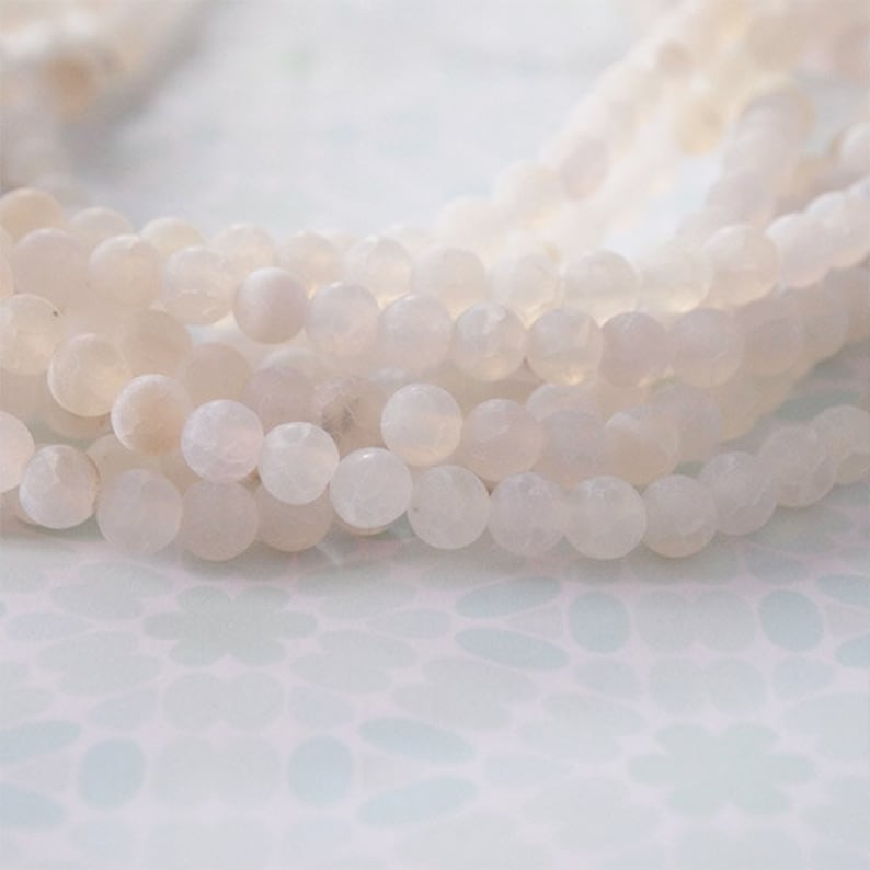 Strand Gemstone Beads White Agate Frosted Finish Size 6mm Quantity 64 Beads