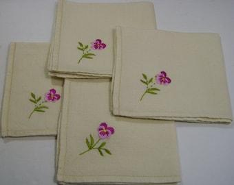Vintage Cross Stitched Handkerchief - Pink Pantsy