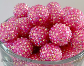 20mm |FUCHSIA| Pave Beads |Resin Rhinestone Beads | Bubblegum Beads | Bubble Gum Beads |Chunky Necklace Beads| DIY boutique Necklace