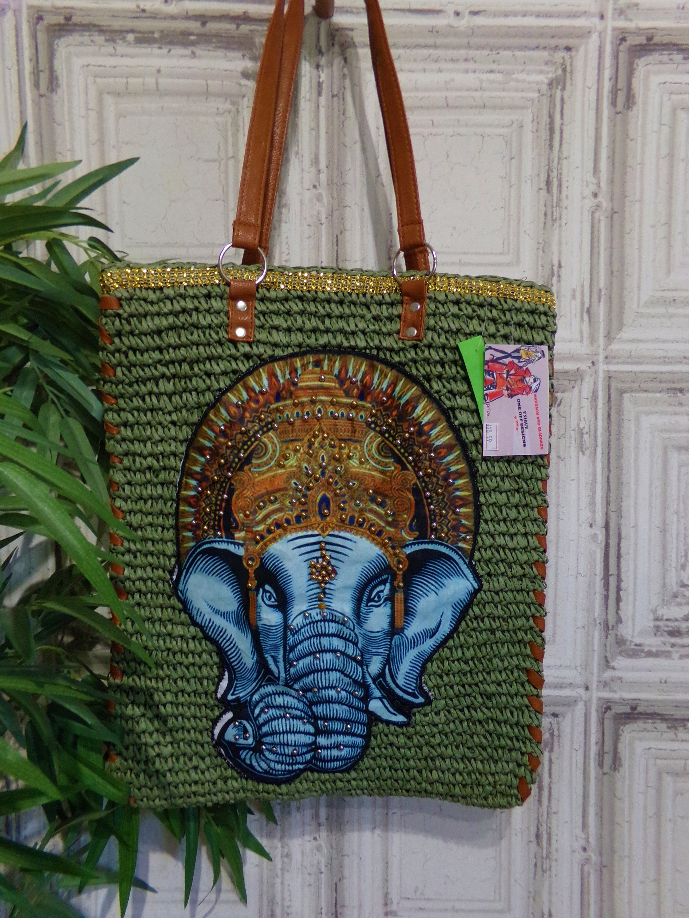 Green Woven paper straw elephant shopper