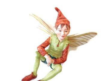 Elf Fairy figurine, fairy garden miniature, fairy garden, miniature garden, fairy garden decor, fairies, faeries,  boy fairy, Cecily Barker