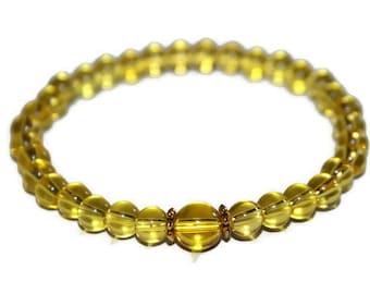 Citrine Bracelet, Healing Crystals, Dainty Bracelet, Citrine Bead Bracelet, Citrine Jewelry, Solar Plexus Chakra Bracelet, Best Friend Gift