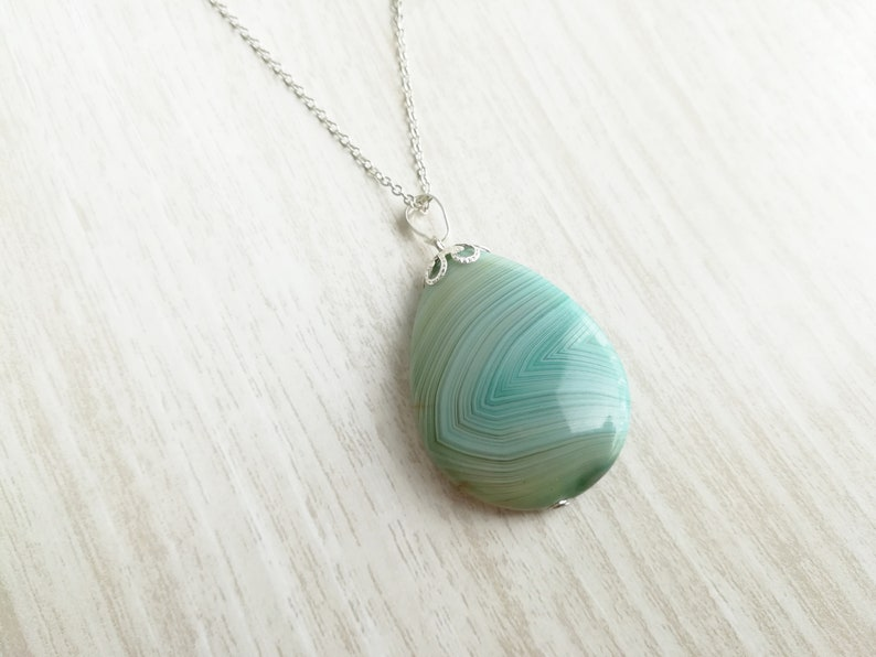 Teadrop Shaped Agate Stone Necklace  Natural Stone Necklace  Green Stone Necklace  Dainty Silver Necklace  Silver Layering Necklace