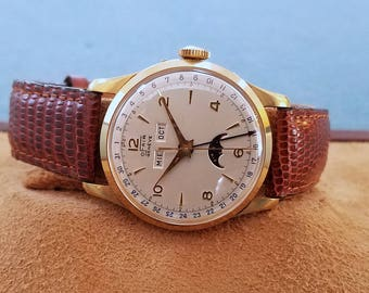 Ofair Geneve 18K Solid Gold Triple Date Moonphase Automatic Watch