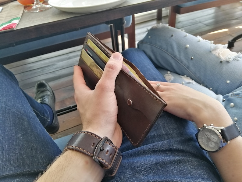 Men/'s Leather slim Wallet Personalized Cowhide Leather Wallet Traditional Wallet Brown Handmade Leather Wallet