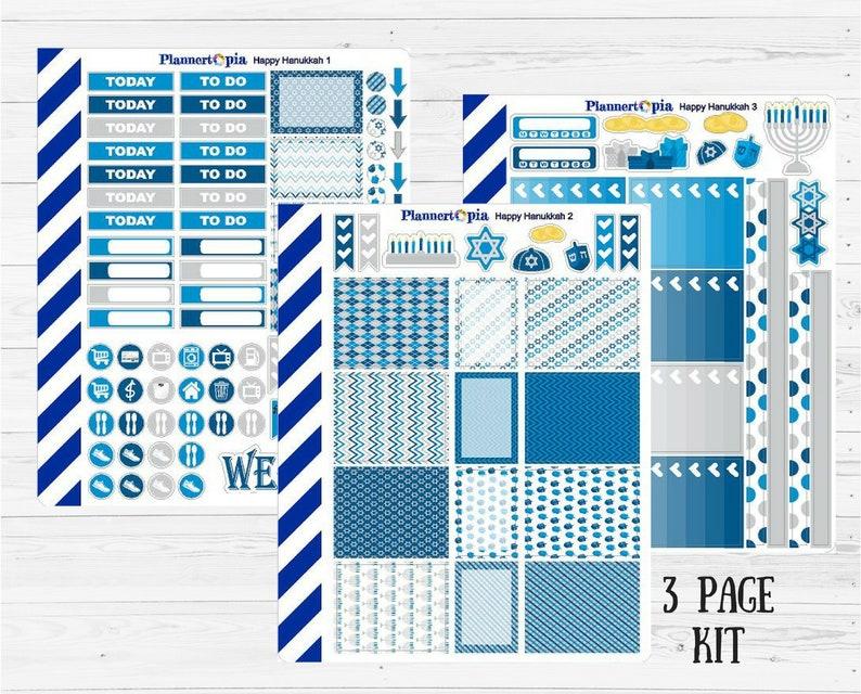 Planner Kit Happy Hanukkah Weekly Kit Holiday Weekly Kit Chanukah Weekly Planner Kit 3 page Kit Mini Weekly Kit Winter Planner Kit
