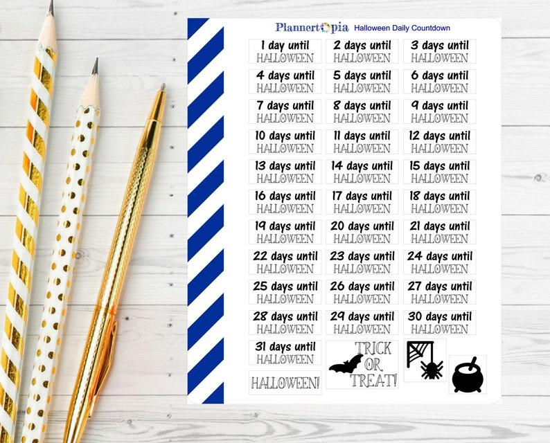 graphic regarding Day Designer Daily Planner known as Halloween Everyday Countdown Planner Stickers,Halloween Developing Sticker, Countdown Creating Sticker,Erin Condren Sticker, Working day Designer Sticker