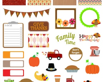 30 Jumbo Thanksgiving Sampler, large sheet of contour cut matte vinyl stickers for Erin Condren & other planners