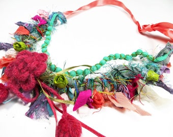 colorful fabric bib necklace cheerful Bohemian wool covered flower beads