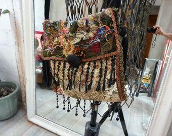 bag retro Bohemian velvet embroidered textile art