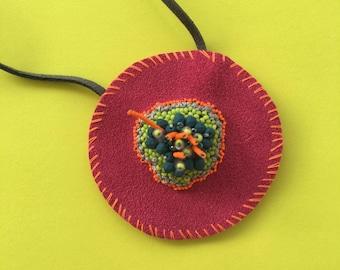 Circular Fuchsia Embellished Necklace