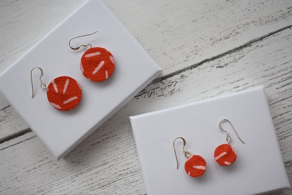 Leather Painted Hook Earrings