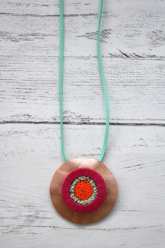 Rose Gold Leather Embellished Circular Disk Necklace