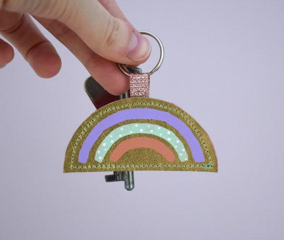 Rainbow Leather Painted Keyring