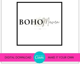Boho Logo, Premade Logo, Blog Logo, Web Logo, Blog Branding, Canva Logo, DIY Logo, Web Header, Logo Kit, Brand Logo, Social Media Logo