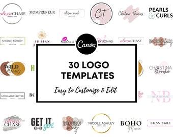 30 Premade Logo Templates, Rose Gold Logo, Gold Logo, Blog Logo, Website Logo, Boho Logo, Canva Logo, Web Header, Watercolor Logo