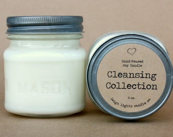 8 oz Mason Jar | Cleansing Collection | Soy Candle | CHOOSE YOUR SCENT