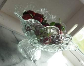 Cut Glass Frosted Banana Footed Fruit Bowl