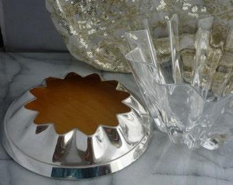 Carrs Hallmarked Zig-Zag Sterling Silver & Oak Base with star shaped crystal fruit bowl, housewarming gift, wedding, Christmas, celebration