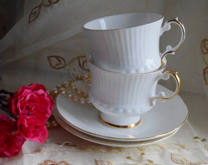 """Featured listing image: Churchill Group's Elizabethan """"Charmaine"""" Fine Bone China tea cups and saucers x 2"""