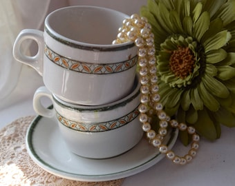 "Royal Doulton ""Country Club"" Tea Cup and Saucers x4"