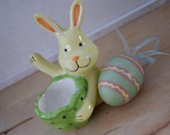 """Egg Cup with Waving Yellow Bunny Rabbit """"Yoo Hoo"""""""