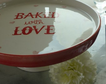 "11.5"" ""Baked with Love"" peach & white ceramic cake stand with hearts, wedding, centre piece, top table, wedding gift, wedding cake stand"