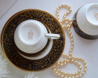 "Minton Porcelain ""Grandee"" two tea cups and matching saucers"