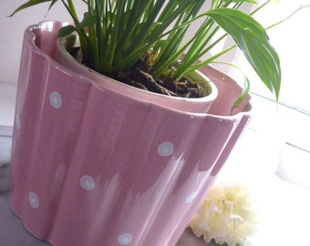 Pink & White Spotted Ceramic Indoor Planter