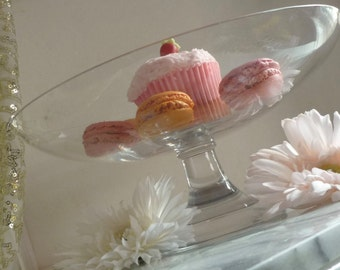 Cut Glass Clear Bowl-Shaped Footed Cake Stand