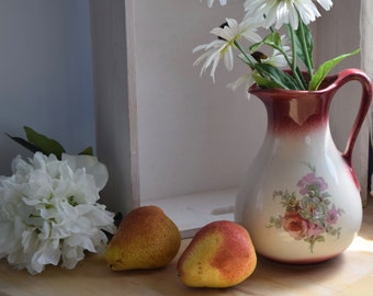 "Shabby Chic, Hand painted vintage floral, blush ""Empress"" vase, jug, rustic, wedding gift, crazing,"