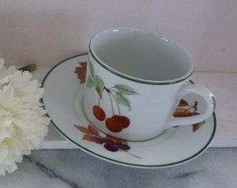 "Four Royal Worcester ""Evesham Vale"" Porcelain Coffee Cup & Saucer, summer fruit theme, green rim, wedding, housewarming, vintage"