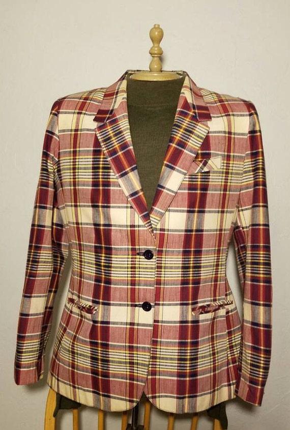 Vintage Plaid Sasson Blazer 1980s Size 14/15