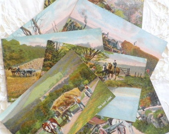7 Lovely Vintage Postcards of Rural Scenes Published by JWB London. Series 314.