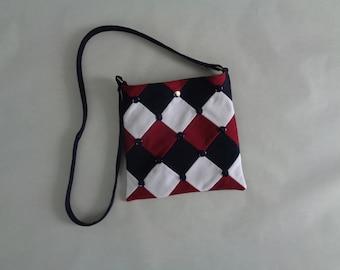 Red, White and Blue Geometric Denim Crossbody Purse