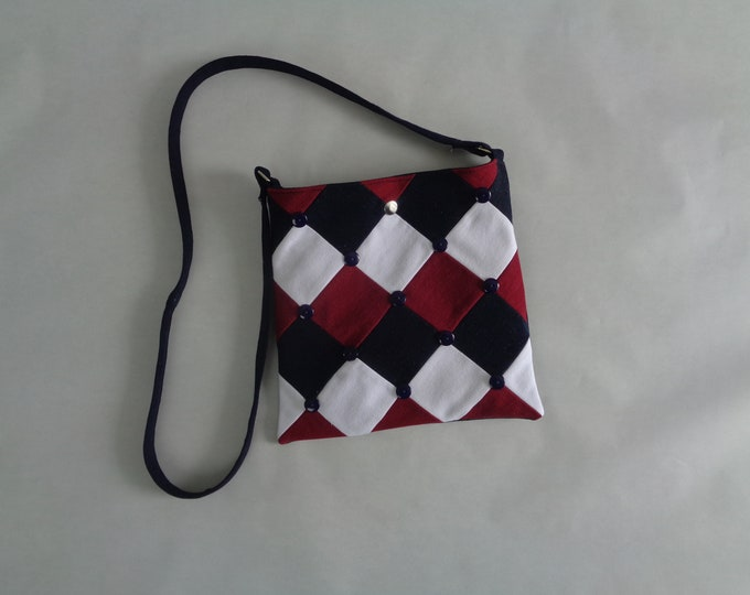 Red, White and Blue Geometric Denim Crossbody Purse
