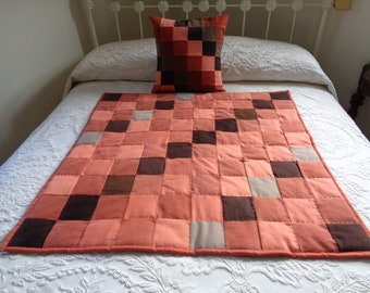 Orange Denim Patchwork quilt and pillow set
