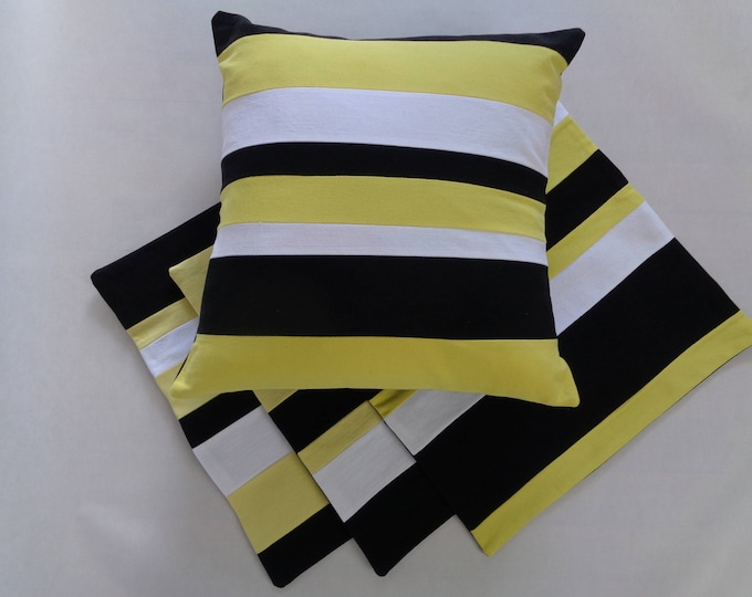 Black and Gold Striped Pillow Cover