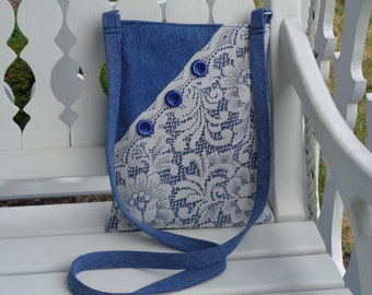 Denim & Lace crossbody Purse