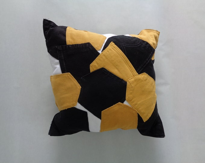 Black and Gold Sports Fan Pillow