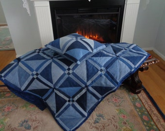 Geometric Denim Quilt and Pillow Set