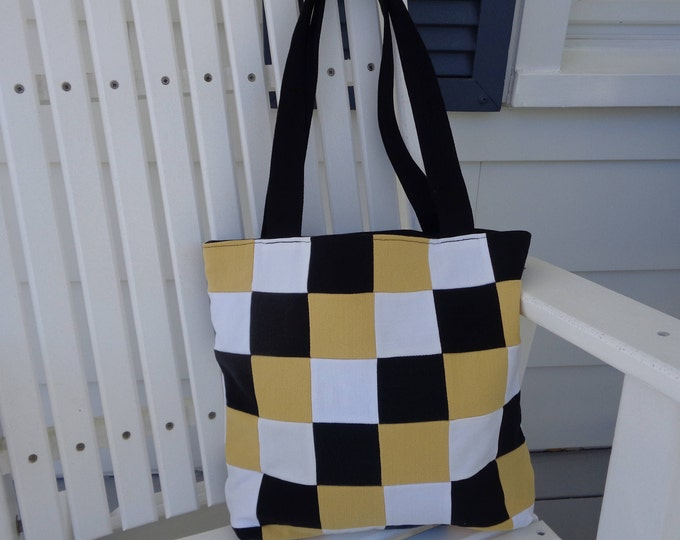 Black and Gold Checked Denim Bag