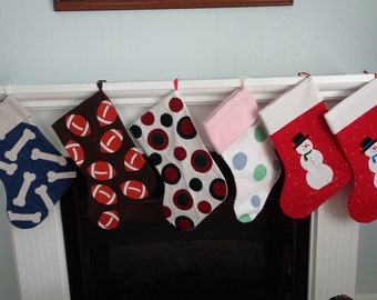 Hand Made Appliqued Denim Christmas Stockings