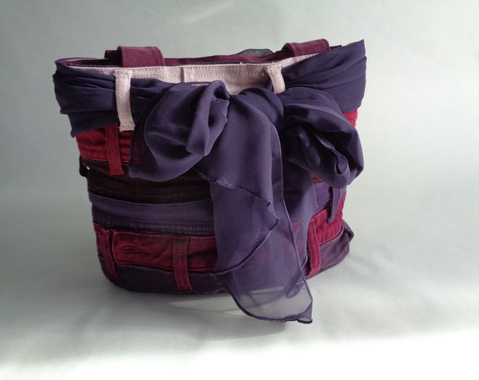 Purple and Red Denim Purse