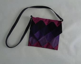 Purple Geometric Denim Crossbody Bag