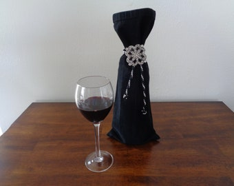 Black Denim Wine Gift Bag